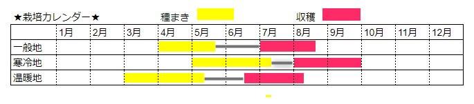トウモロコシの栽培時期カレンダー